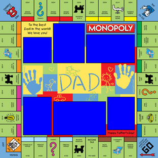 Dad and Handprints Monopoly