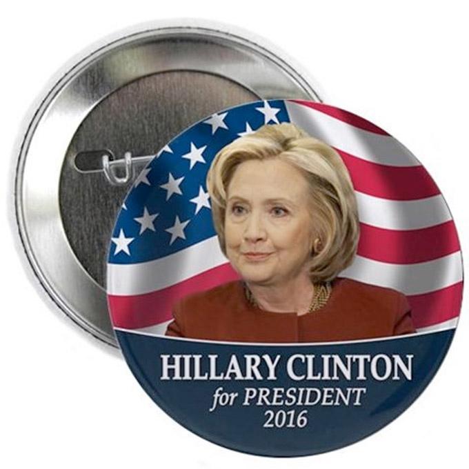 Hillary Clinton for President 2016 Election Button