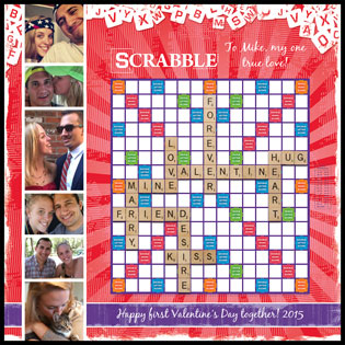 Custom Valentine Red Rays Scrabble Game