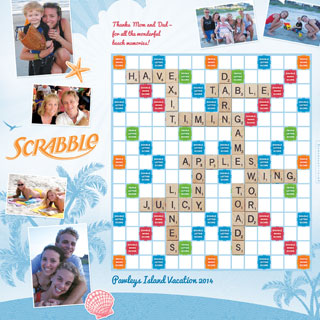 Custom Beach Blue Scrabble Game