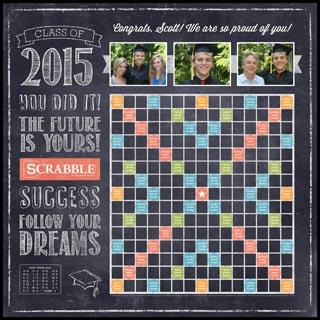 Custom Chalkboard Class of 2015 Scrabble Game