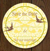 Birds Save the Date Sticker