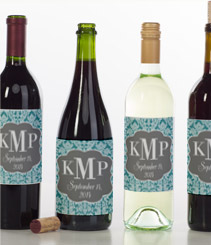 Lace Monogram Wedding Blue Wine Label