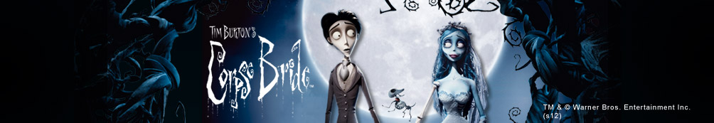 Tim Burton's Corpse Bride Logo with Victor and Victoria holding hands