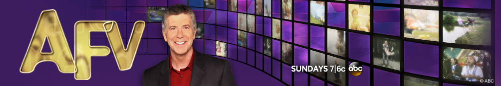 Purple America's Funniest Home Videos background with AFV logo and Tom Bergeron