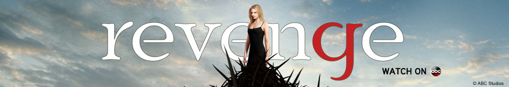 Pink cloud background featuring Revenge logo, Emily Thorne and Victoria Grayson with thorn dresses