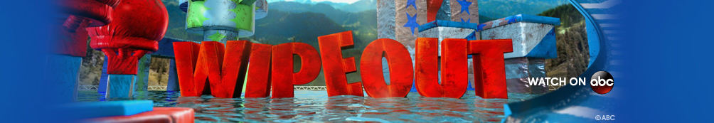 Blue background featuring the wipeout logo and obstical course water