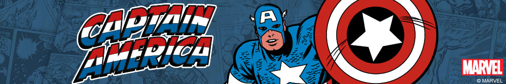 Image of Captain America comic design with shield and Captain America logo.