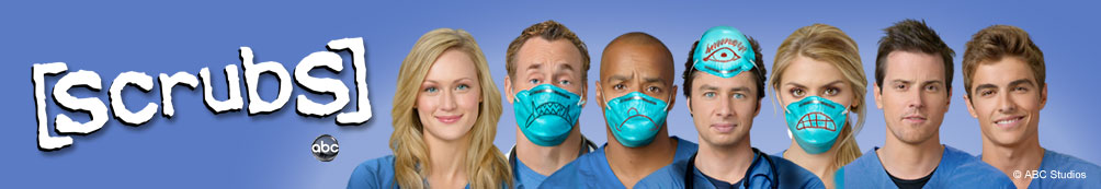 Light blue background with Scrubs logo and the cast