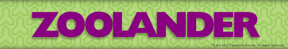 Purple Zoolander logo with bright green patterned background.